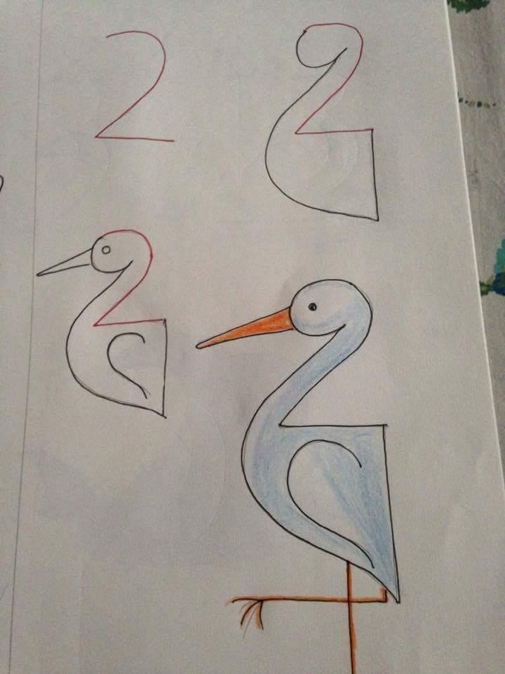 Menggambar burung bangau