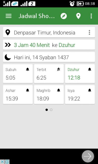 Jadwal sholat di aplikasi Prayer Times
