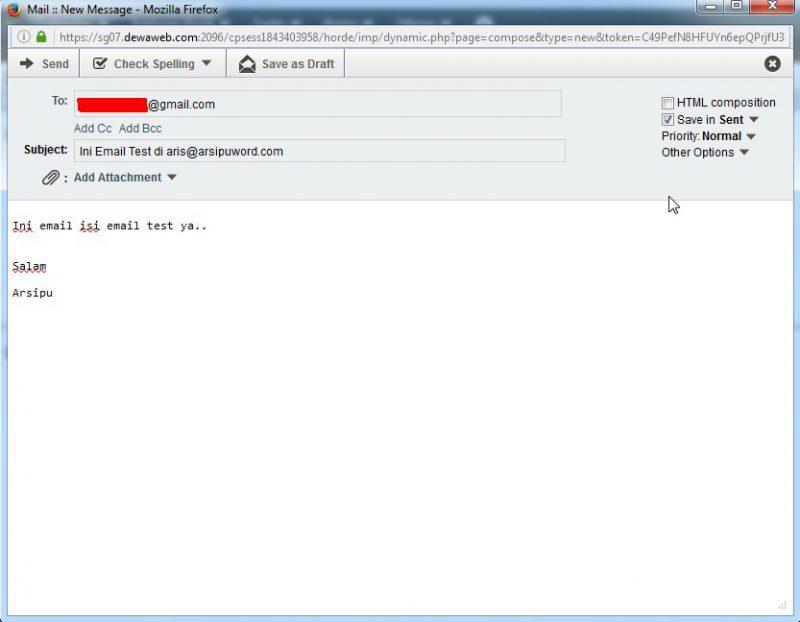 Kirim pesan dari webmail