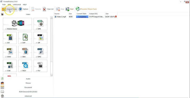 Klik Output Folder untuk membuka image