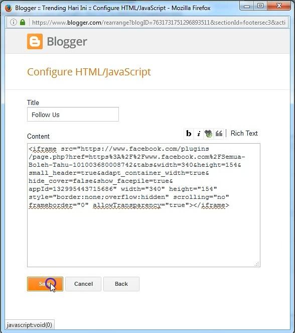 Paste kode dan Save image